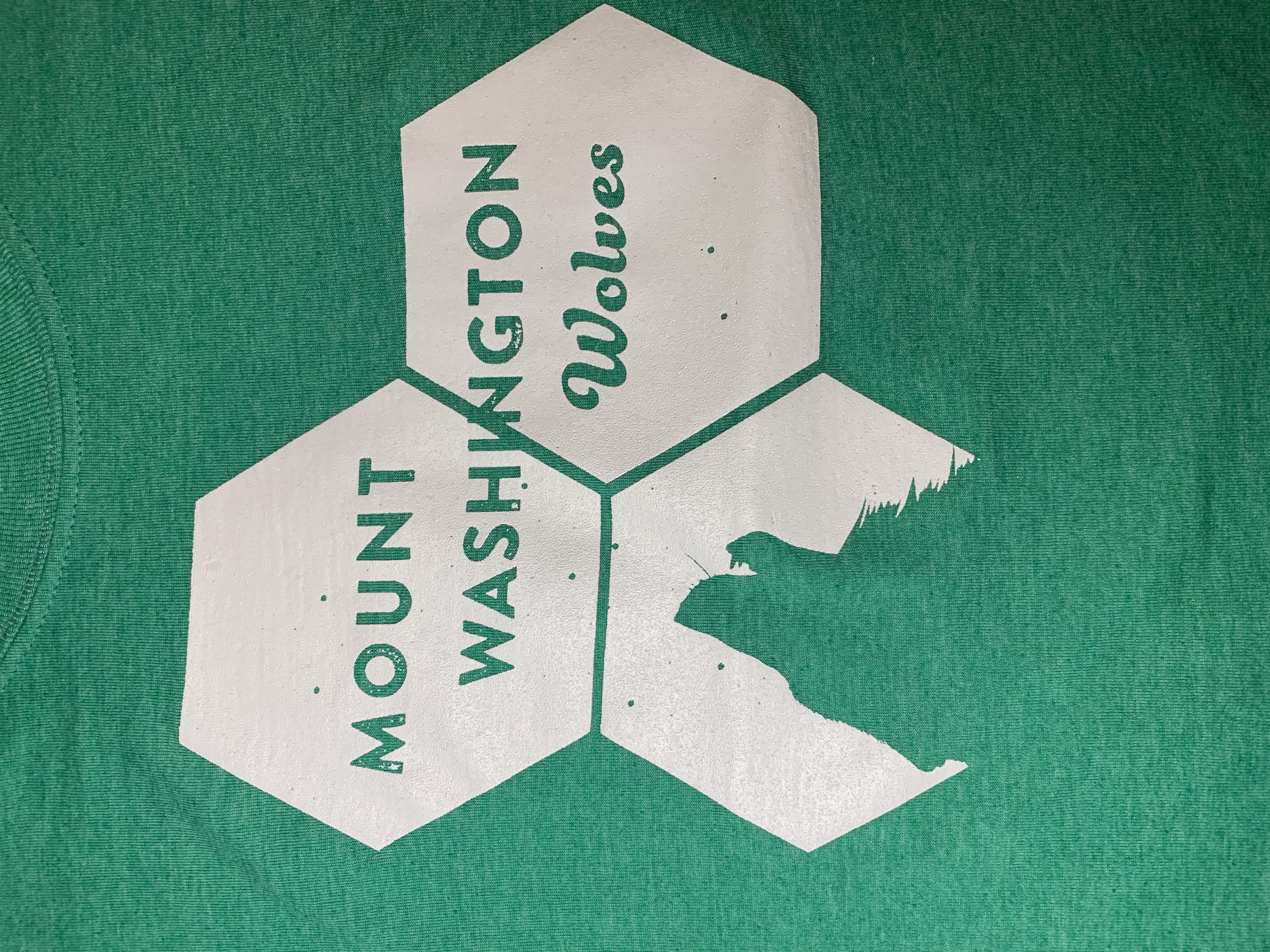 Youth Crewneck Tee - Heather Irish Green/White Howling Wolf Hex