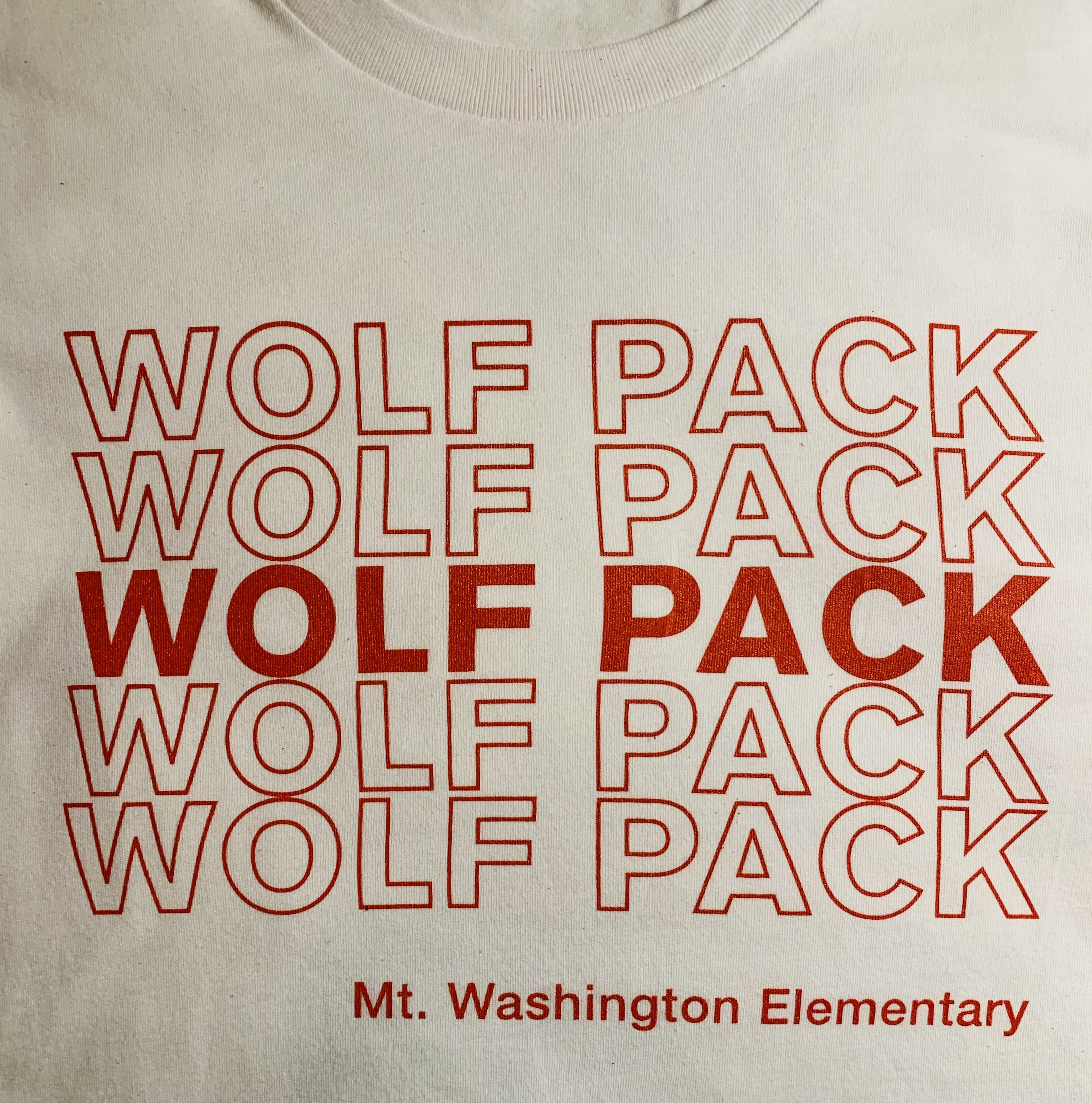 Adult Crewneck Tee - White/Red Wolf Pack
