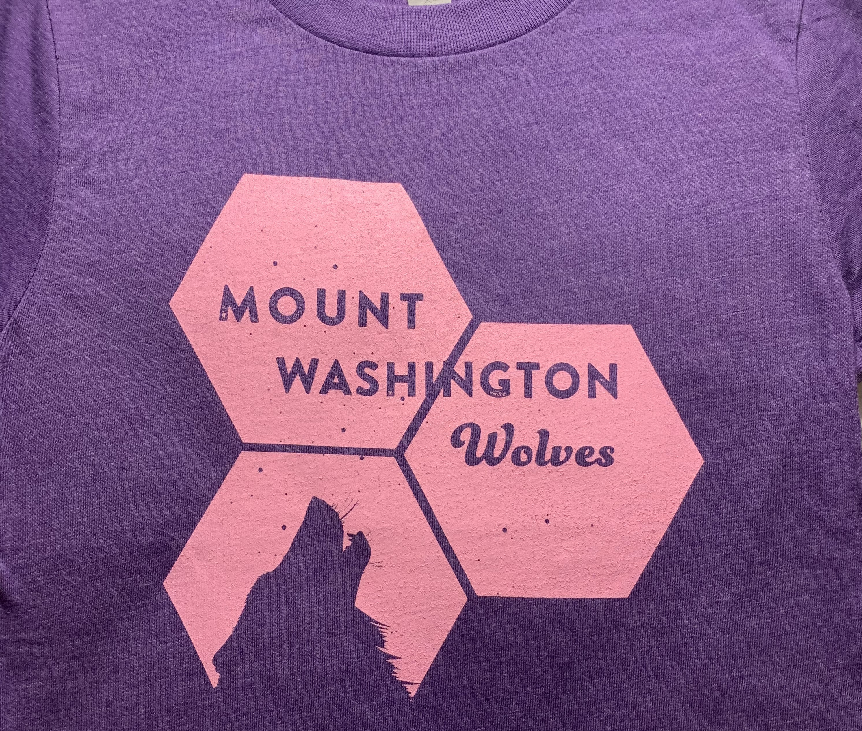 *New!!! Youth Crewneck Tee - Purple Rush/Pink Hex Howling Wolf
