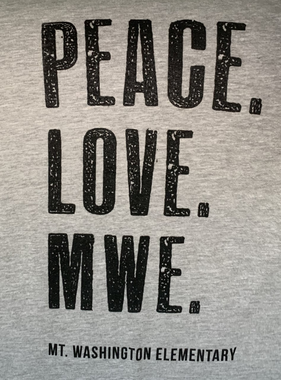 Youth Crewneck Tee - Heather Grey/Black Peace. Love. MWE.
